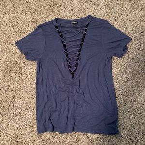 Rue21 tee shirt with lace up front detail